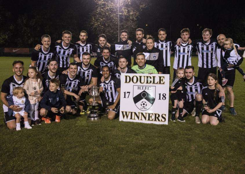AT THE DOUBLE: Harleston Town celebratre winning the Mummery Cup. Picture: Al Pulford