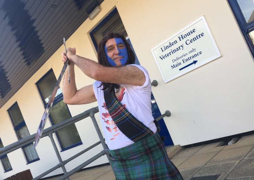 George Eding dressed as Braveheart for the Blue Cross Animal Charity. Picture: Andrew Martin.