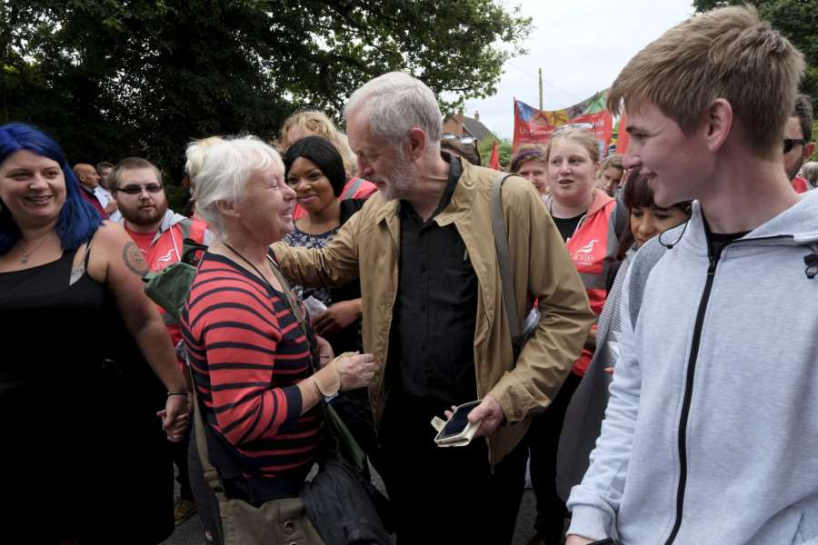 Burton, Norfolk. Labour leader Jeremy Corbyn attends the Burston Strike School Rally.''Picture: MARK BULLIMORE ANL-160409-204609009