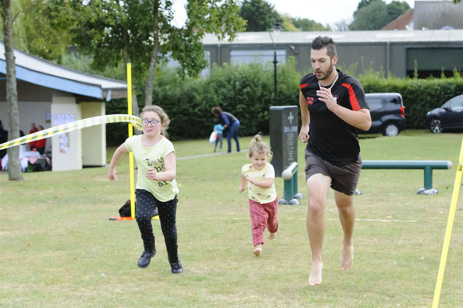 Diss Athletics Club Fun Day at Diss Mere Park pictured are Harlie-Rose Martin, Rio Martin andGordon Coe...Picture: Mark Bullimore Photography 2019. (34298358)