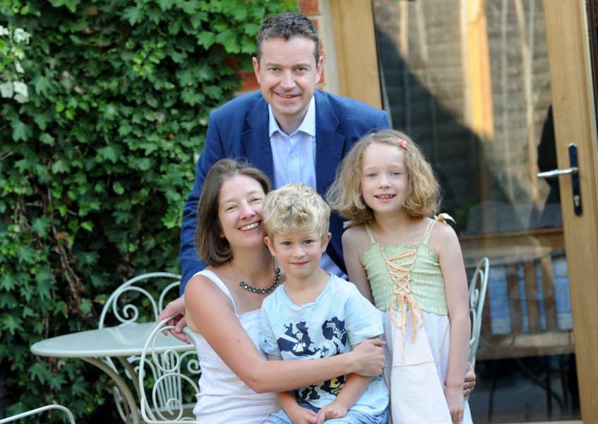 Mandy Hartley started her own business, a DNA workshop for children, and has now been nominated for a national award''Pictured; Mandy Harley with husband Jonathan, Harry (6), Annabelle (9) and Milly the dog