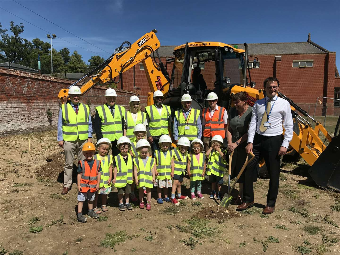 Pupils of Framlingham Prep School are ready for the construction of a new building. Submitted picture. (3095101)
