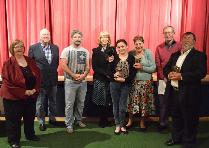 Awards presentation for members of Garboldisham Amateur Dramatic Society.