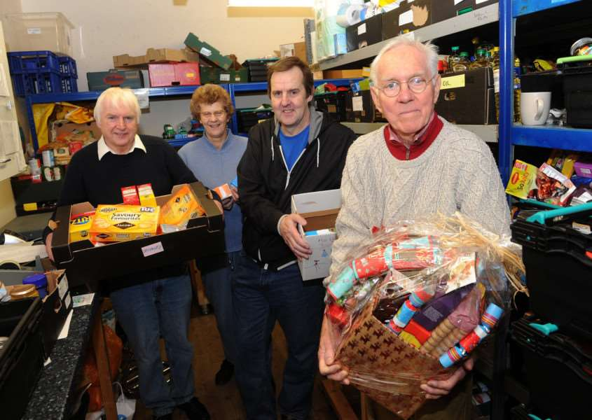 Waveney Foodbank is working to deliver 250 boxes of food and gifts''Pictured: Jim Waters, Janice Mortlock, Gary White and David Dawson ANL-161221-142034009