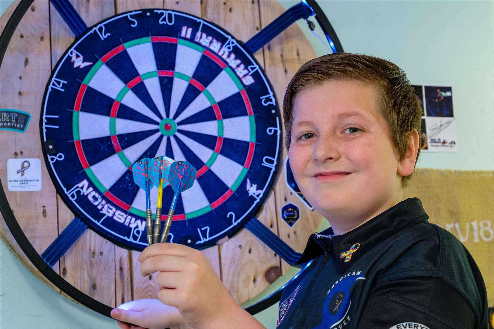 11-year-old Harvey Stringer has made headlines in the darts world after he hit a 9-dart finish. Picture: Mark Bullimore Photography.