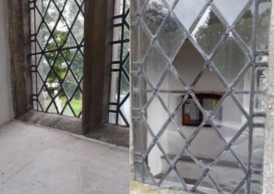Window of St Mary The Virgin Church in Pulham St Mary smashed, images of inside and out. Picture: South Norfolk Police.