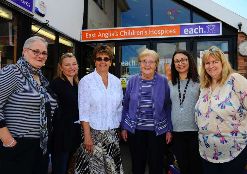 Diss, Norfolk. The EACH charity shop in Diss has launched a new campaign to recruit volunteers pictured from left Miranda Moore, Sam Ellis, Davina Scales, Maragret Ellis, Ausun Yunouzova and Helen Weber. Picture: MARK BULLIMORE