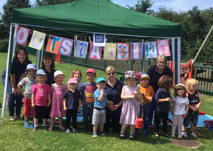 Staff and children celebrated the school's 'outstanding' Ofsted rating with a picnic.