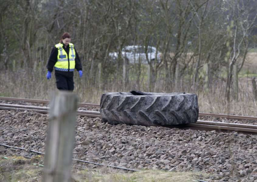 Train and Tractor crash at Roudham''Pictured: The tractor wheel found on the line quite a way from the vehicle ANL-161004-191402009