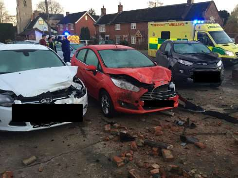 Car accident in Hempnall. Photo: South Norfolk Police. ANL-161128-135911001