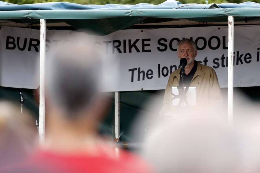 Burton, Norfolk. Labour leader Jeremy Corbyn attends the Burston Strike School Rally.''Picture: MARK BULLIMORE ANL-160409-204231009