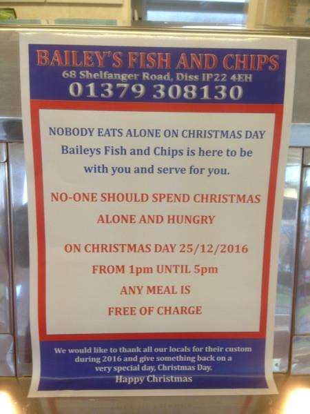 Bailey's Fish and Chip Shop will be offering free meals on Christmas Day. ANL-161223-171006001