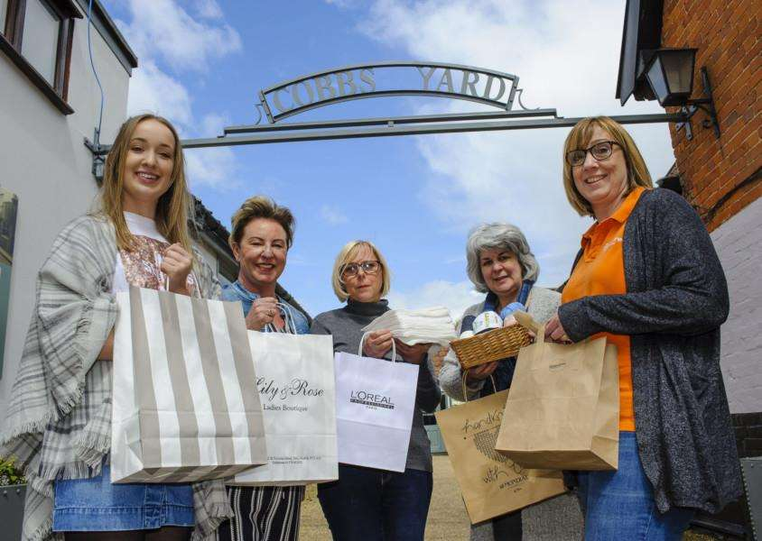 Diss, Norfolk. Traders in Cobbs Yard have joined the plastic free status pictured from left Chloe Howard, (So Fetch), Dee Royds (Lily & Rose), Julie Debenham (Cut & Chat hair salon), Sue Norman (Diss Wool & Craft Shop) and Kirsty Howard (Gluten Free Food Store).''Picture: Mark Bullimore Photography