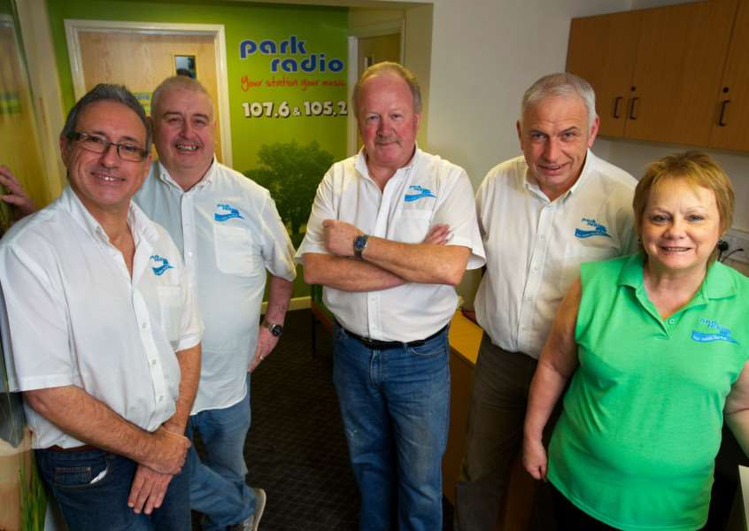 Diss, Norfolk. Park Radio launches on Sunday, pictured from left is Chris Moyse, John Rodgers, Paul Stephen, Adrian James and Janet Moyse. ''Picture: MARK BULLIMORE PHOTOGRAPHY