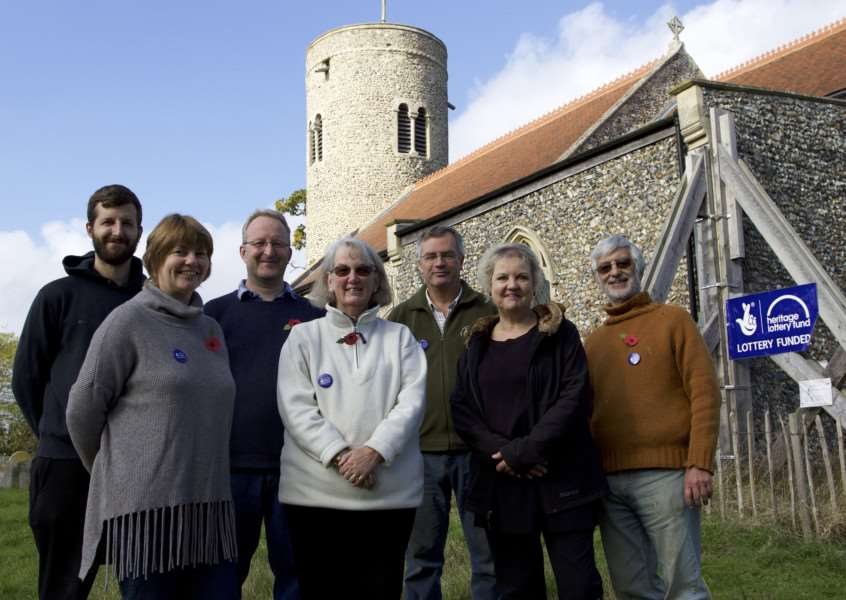 Gissing, Norfolk. St Mary's Church in Gissing has won a �280,000 grant from the Heritage Lottery Fund to carry out urgent repairs. Pictured are some of the friends of Gissing Church back from left Tom Scoggins, Eddie Scoggins and Paul Wright. Front from left Denise Scoggins, Fiona Turton, Sarah Cassell (PhD Historian Student from the UEA) and Malcolm Turton. ''Picture: MARK BULLIMORE ANL-161029-213220009