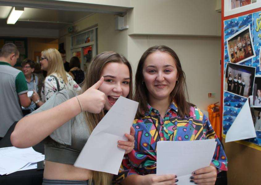 GCSE results day at Stradbroke High School. Aishia McEvoy and Georgia Eaton.