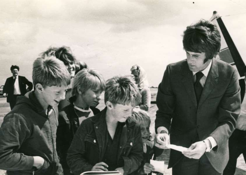 England football legend Geoff Hurst signs autographs at Eye Airfield.