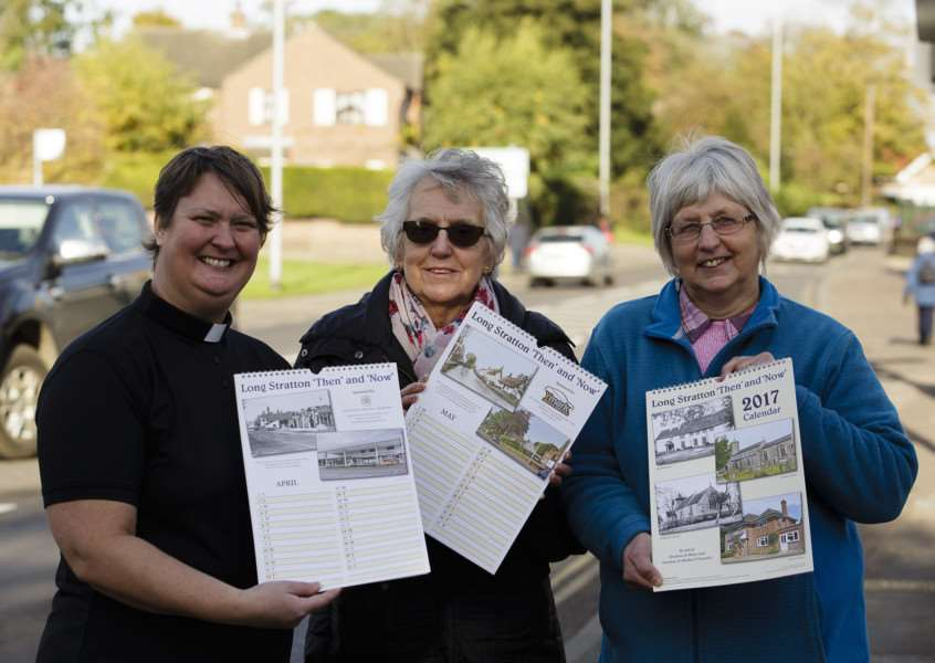 Long Stratton, Norfolk. Long Stratton parishioners have released a 'Then and Now' village calendar for 2017, to support the Churches of St Mary and St Michael. Pictured from left Rev'd Heather Wilcox, Judith Baker and Linda Mills. ''Picture: Mark Bullimore ANL-160211-135231009