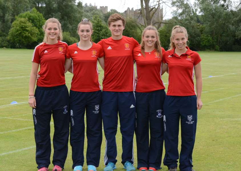 ENGLAND CALLING: Framlingham's quintet of students are all smiles following their international selection