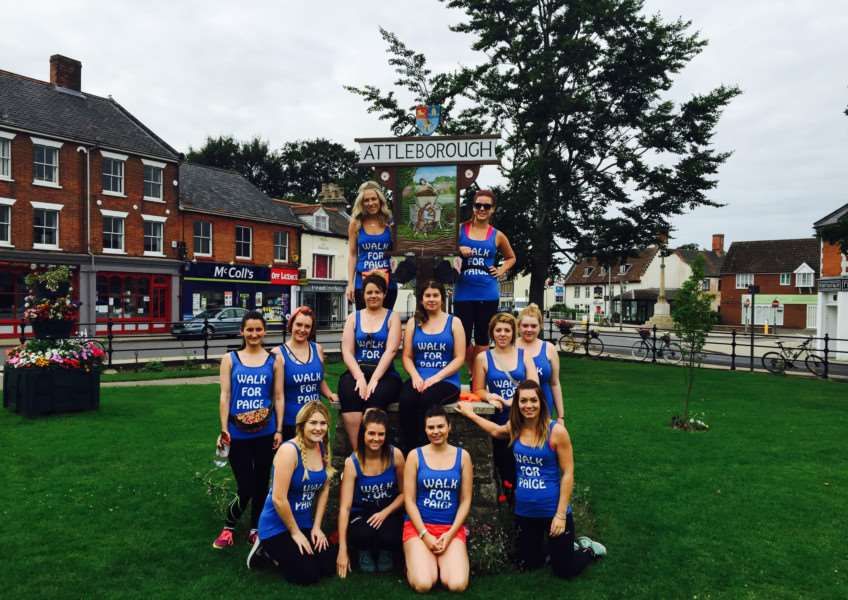 Employees of Diss salon Crackers and Chaps walked 16 miles from Attleborough, raising money for an unwell toddler. ANL-150818-121522001