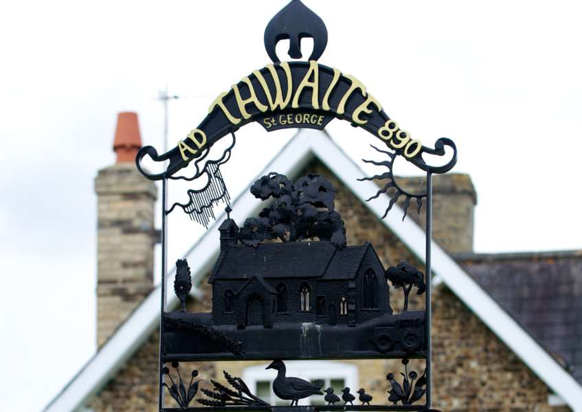 Thwaite village sign. Picture: Mark Bullimore.