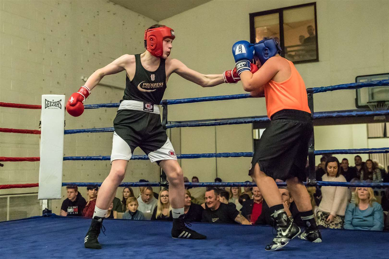Progress Boxing - Diss Hope Church Show. Bout 12 - (Red) Toby Herbert (Progress) v (Blue) Mason Minall (Spalding).Winner - Unanimous Decision - Toby Herbert. (5790560)