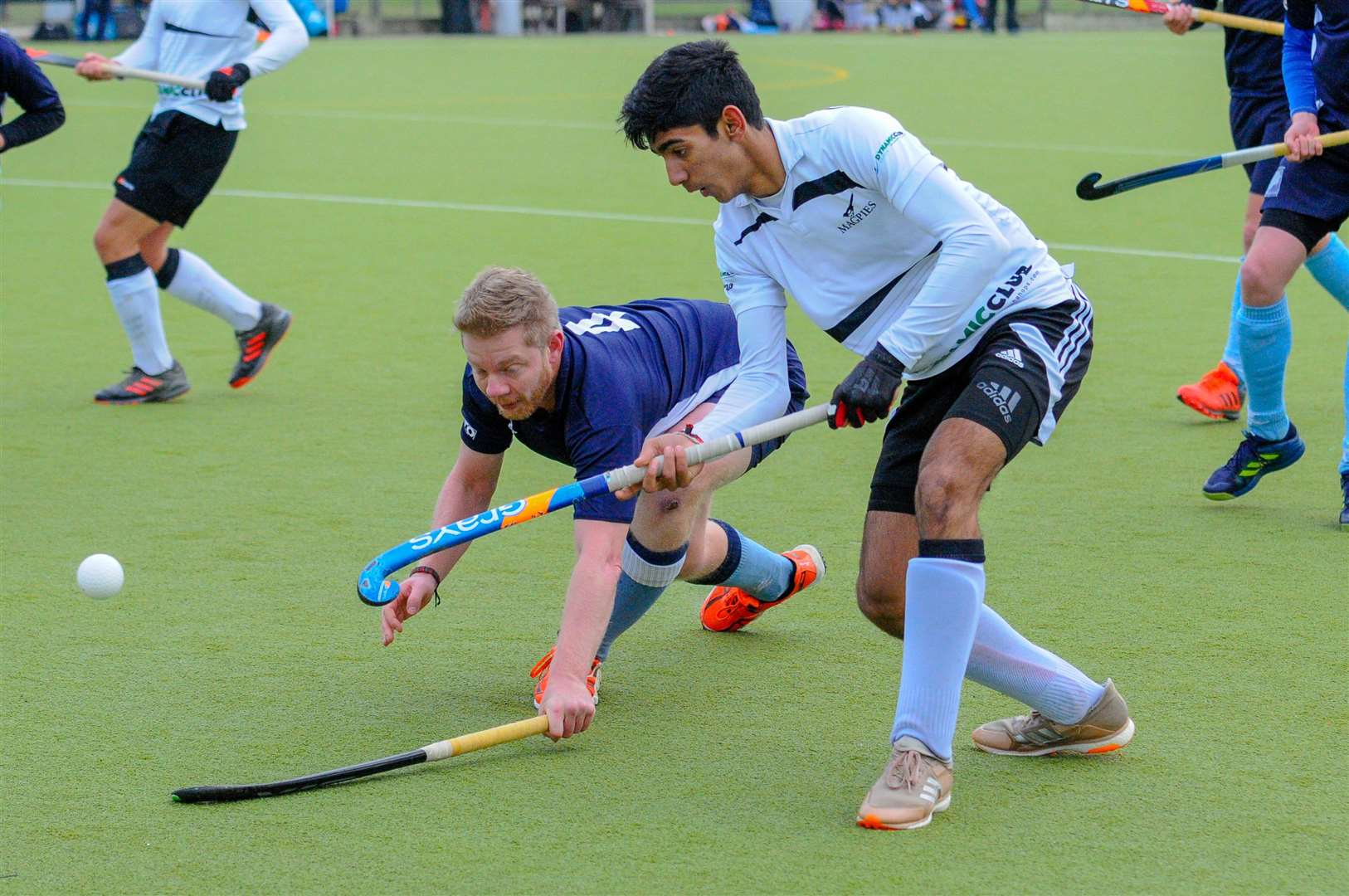 Hockey action from Harleston Magpies Men's 1st v West Herts - Raunaq Rai..Picture by Mark Bullimore Photography. (6022311)