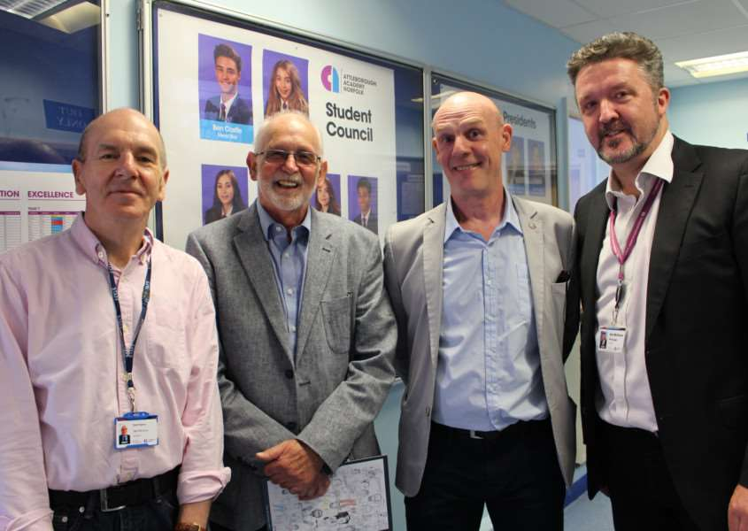 Attleborough Academy celebrates 50 years of secondary education. From left: CEO of Tengroup, Mr Dick Palmer, former Attleborough High Assistant Principal, Mr David Jones, former Headteacher of Attleborough High, Mr Stuart Bailey, and current Headteacher of Attleborough Academy Mr Neil McShane