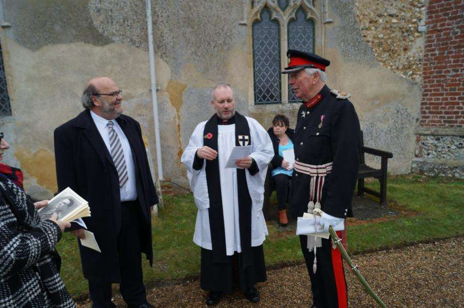 Graham Moore, chairman of Scole Parish Council, Rev Canon Nigel Tuffnell and Lord Lieutenant, Richard Jewson
