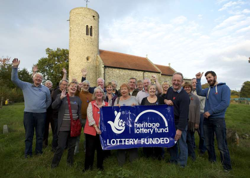 Gissing, Norfolk. St Mary's Church in Gissing has won a �280,000 grant from the Heritage Lottery Fund to carry out urgent repairs pictured are members of the Parochial Church Council and Friends of Gissing Church celebrating the award. ''Picture: MARK BULLIMORE ANL-161029-213401009