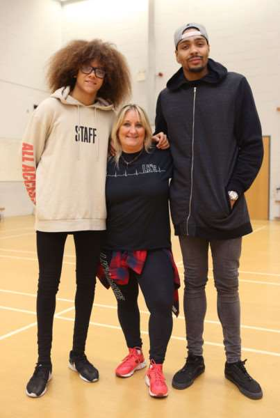 Perri Kiely and Jordan Banjo from Diversity hold a dance workshop with the LK School of Dance in Eye. (L-R)Perri Kiely, Lynne Bailey and Jordan Banjo.'Pic - Richard Marsham/RMG Photography