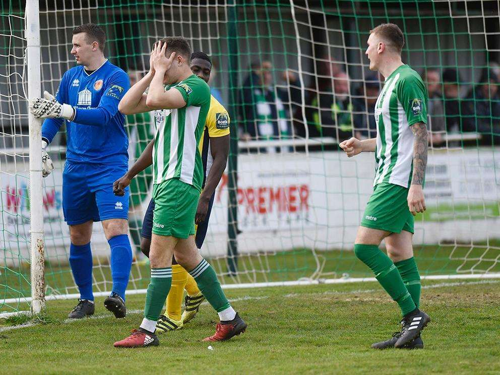 BAD DAY: Callum Russell shows his frustration after missing a chance for Soham. Picture: Mark Westley