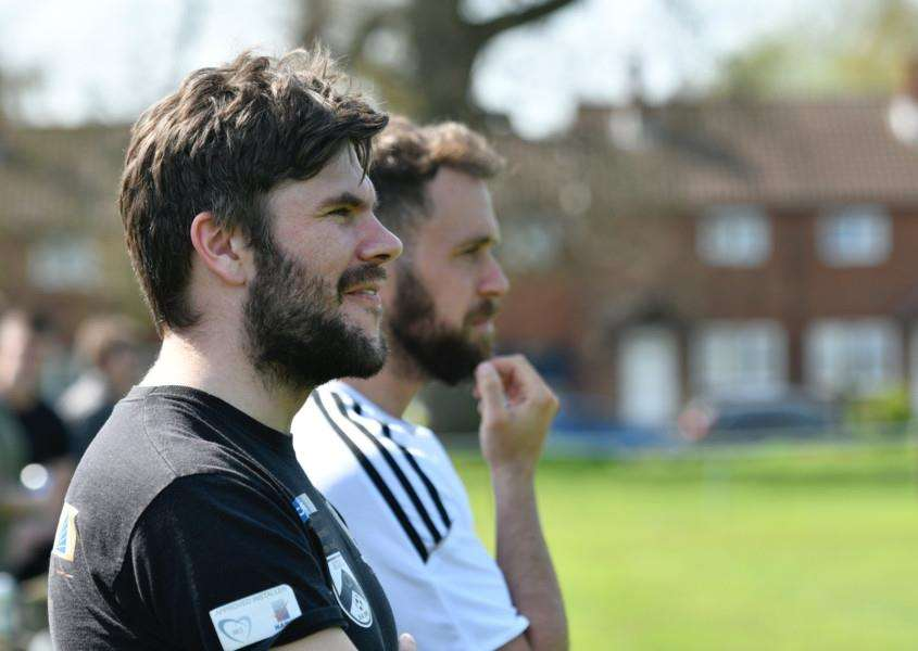 NOW FOR THE DOUBLE: Harleston manager Adam Gusterson