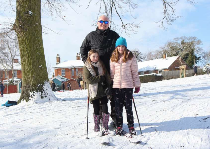 Lewis Painter, skiing is Diss with daughter, Amelie, 10, left and her friend, also called, Amelie, 10.