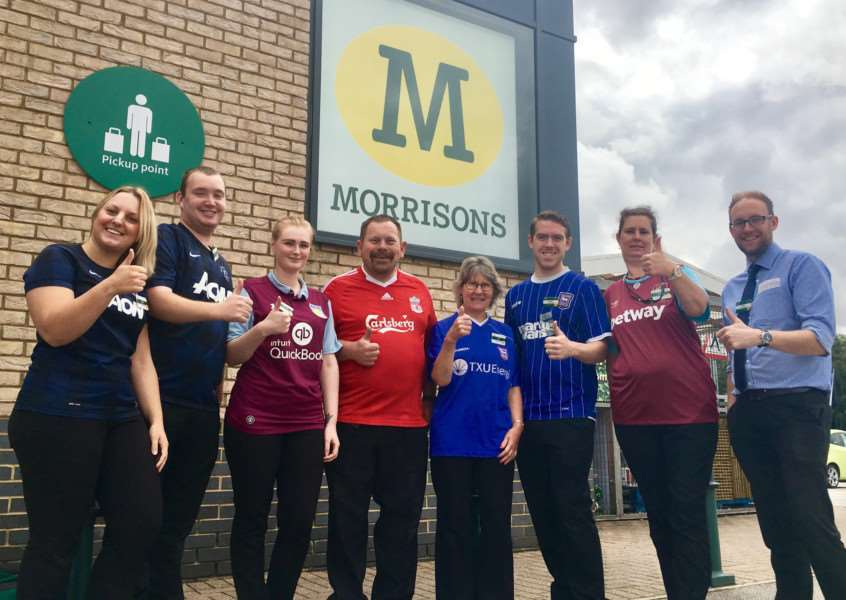 Staff at Morrisons in Diss raise money for the Bradley Lowery Foundation. PICTURE: ANDREW MARTIN
