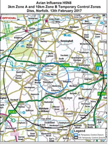 Defra's map showing the Temporary Control Zone around Redgrave following the suspected bird flu outbreak'Map: Defra/Ordnance Survey