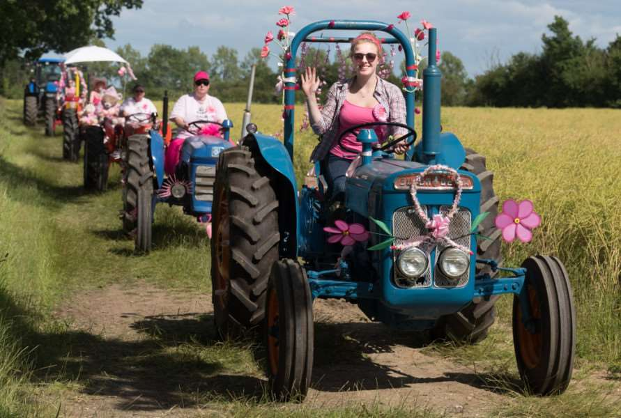 Off road at the Pink Ladies' Tractor Road Run. Photo: Jonathan Slack ANL-160507-162404001