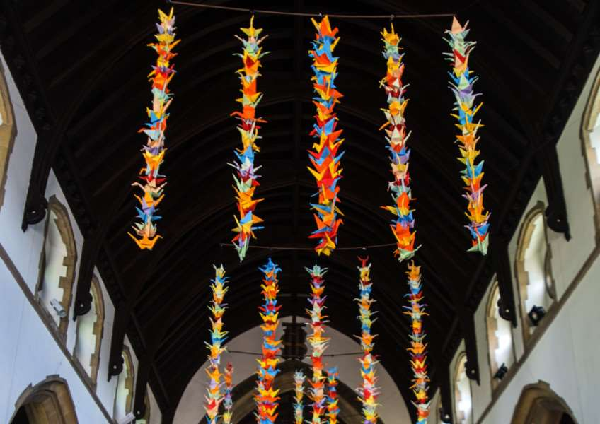 Flight of 1,000 Paper Cranes at St John's Church.