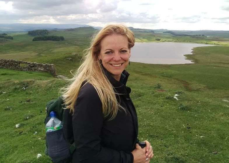 Fundraising: Sarah Alexander walked the entire length of Hadrian's Wall to raise money for Cancer Research UK.
