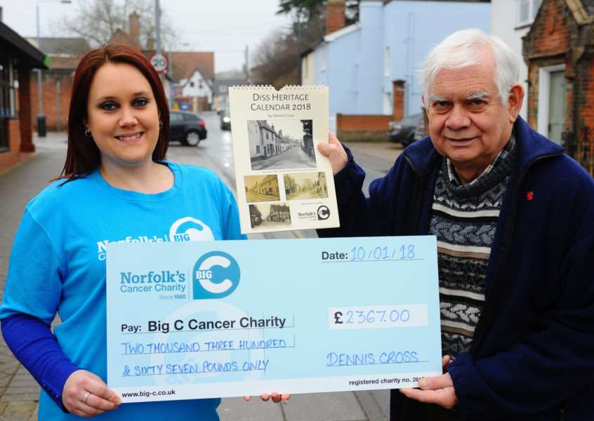 Diss, Norfolk. Diss Historian Dennis Cross (right) presenting a cheque from the sales of his charity calendar to Claire Feek fundraising administrator, raising more than �2,500 for The Big C. ''Picture: MARK BULLIMORE PHOTOGRAPHY