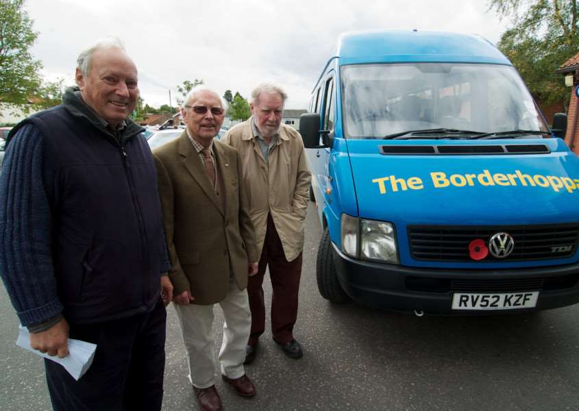 Harleston, Norfolk. Launch of the Borderhoppa bus appeal pictured are Geoff Doggett, Charles Kemp and Frank Thomas ENGANL00120120310162426