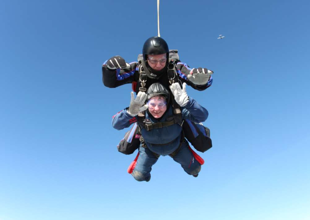 Manday Miller of Redlingfield does a parachute jump for Diabetes UK
