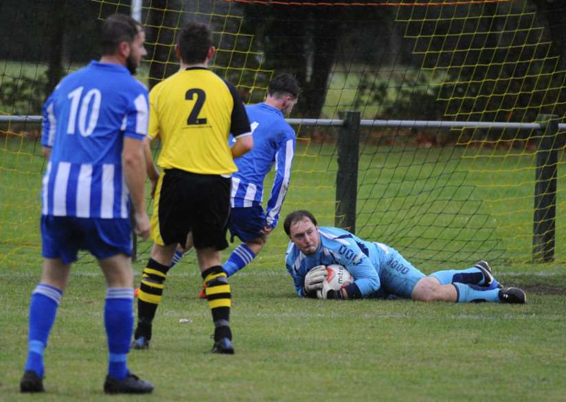 STRONG SHOWING: Debenham LC goalkeeper Steve Fenner impressed against King's Lynn Town but he could not prevent defeat