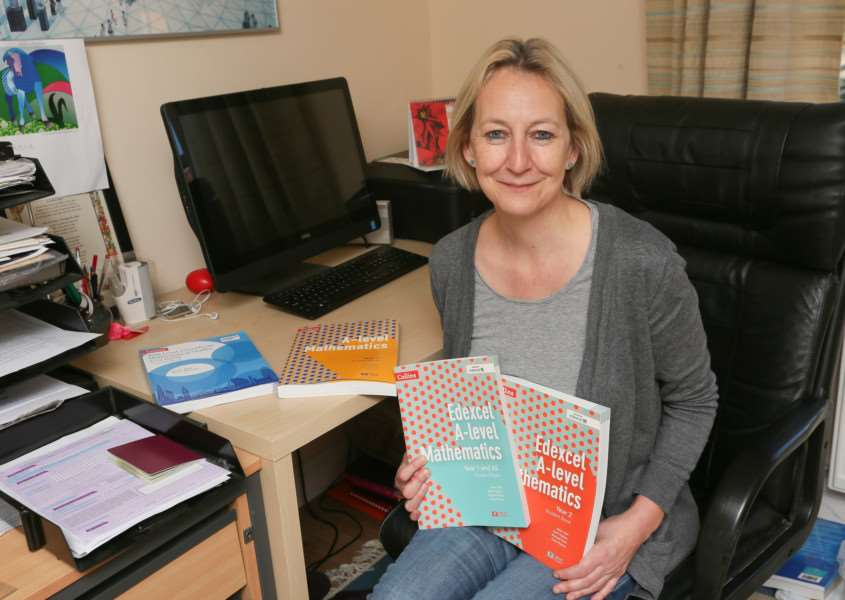 MDEP-09-12-2017-003 Maths Teacher Helen Ball with her new A Level Maths Books