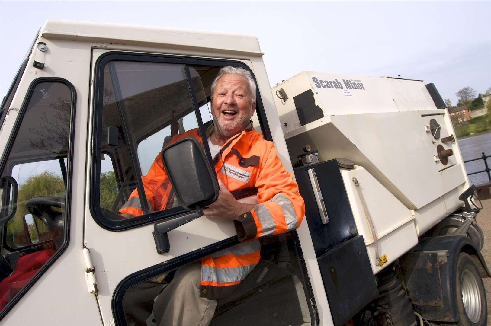 A famous former Honoured Citizen, the late Peter Gillings and his Scrab Minor Roadsweeper, which he offered to Diss Town Council for £4,000 in 2013.