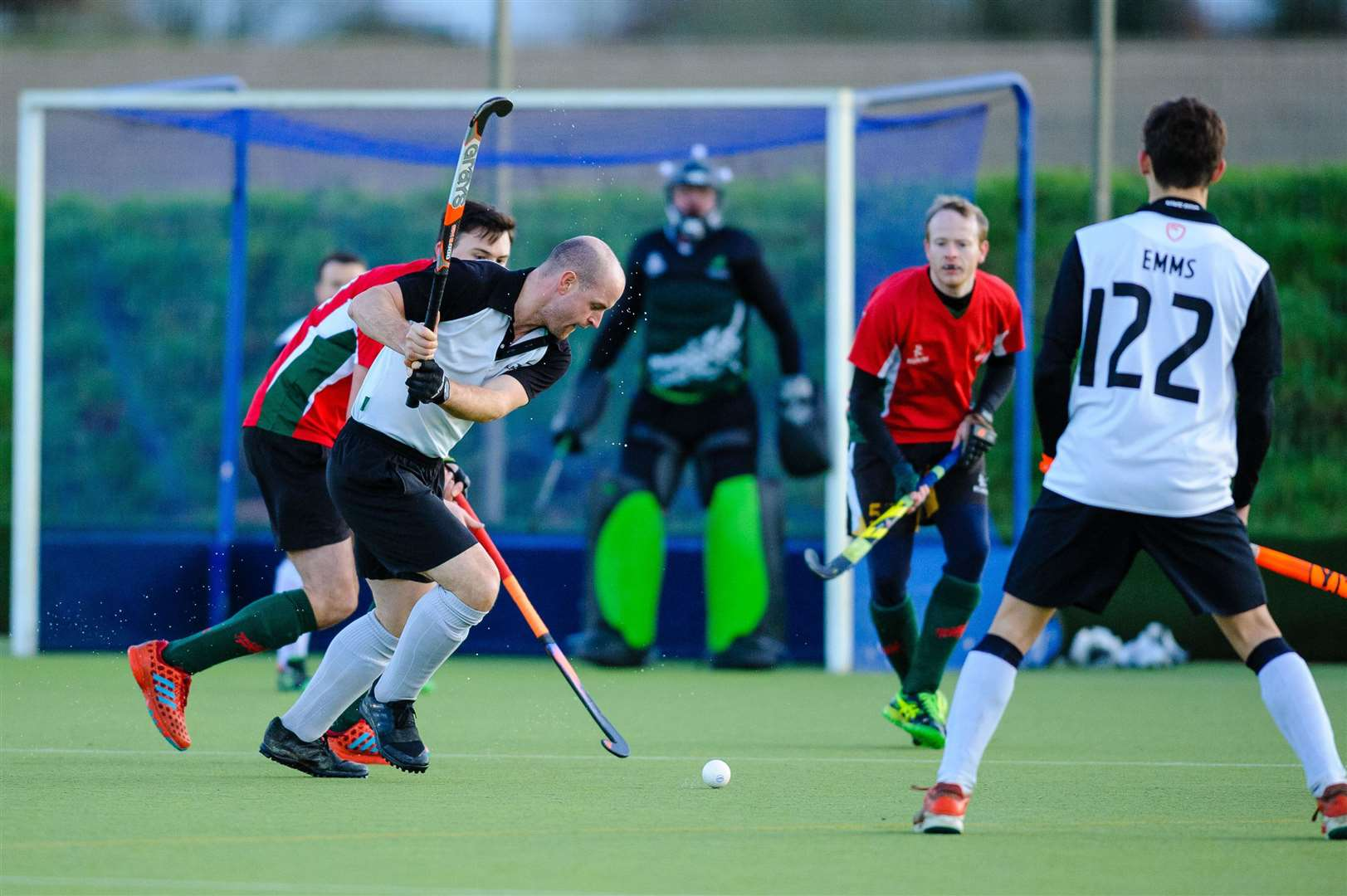 Hockey action from Harleston Magpies Men's II v Norwich Dragons..Picture: Mark Bullimore Photography. (33264204)