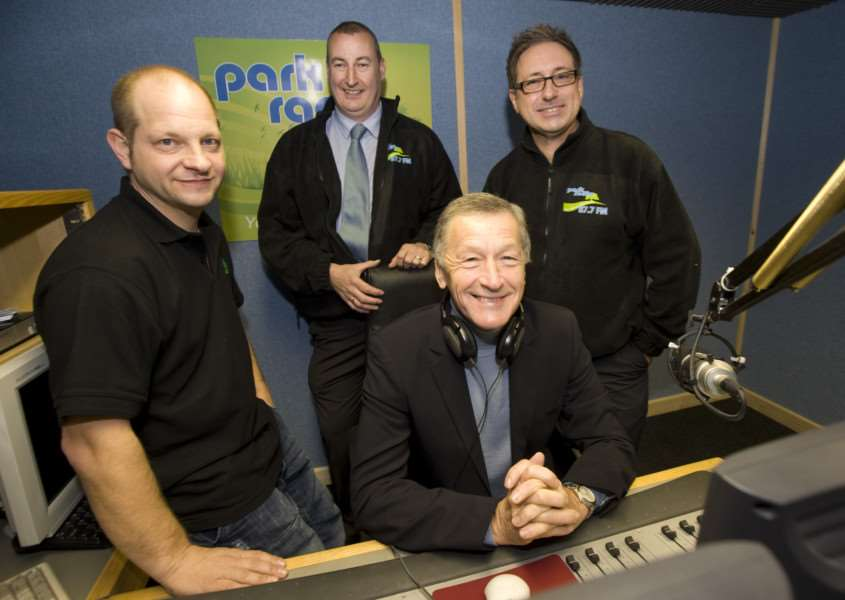 Diss, Norfolk. Launch of Park Radio with BBC Look East's Stewart White pictured from left John Cross, Dave Williams and Chris Moyse ENGANL00120110405170641