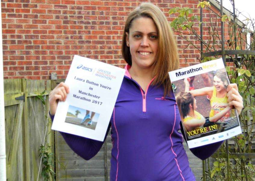 Laura Button is running the Manchester Marathon and the London Marathon.
