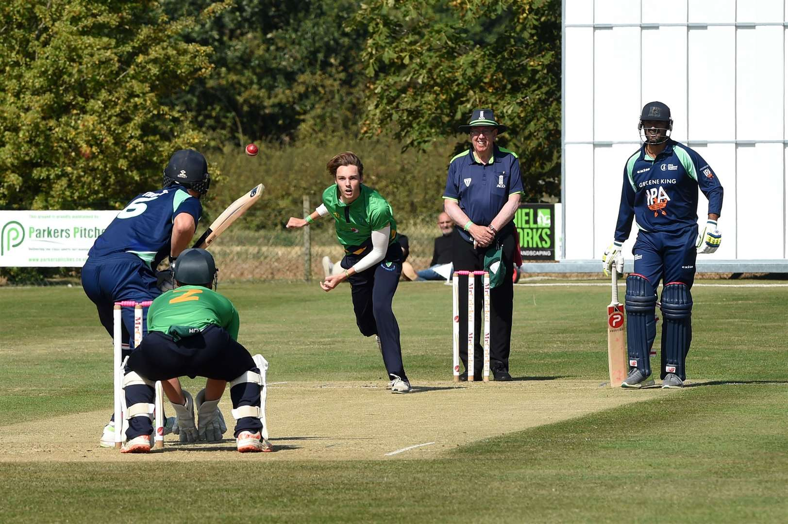 CRICKET - England Masters v Woolpit..Pictured: Freddie Heldreich bowling for Woolpit.....PICTURE: Mecha Morton ... (38450786)
