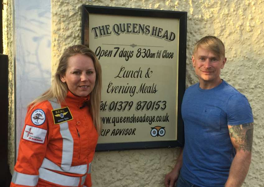 East Anglian Air Ambulance medic Jemma Varela and her friend Ben Boyce are holding a fundraiser at the Queen's Head in Eye, in memory of two friends who have passed away.